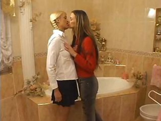 Sexy juvenile lesbians in tub and bed