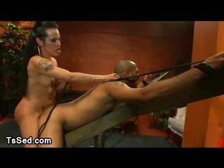 Large hooters tranny fuck guy up the ass bound up to a wooden restraints