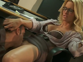 Office sexual relations with blonde fro glasses Jessica Drake