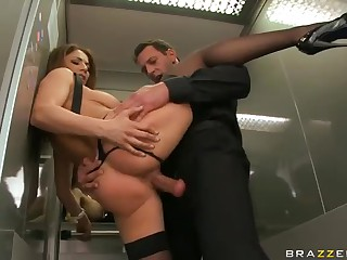 Roberta Gemma dressed in black has crazy clothed sex