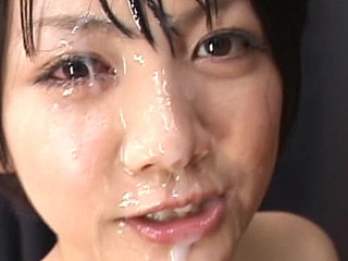 Big breasted Oriental Meguru Kosaka sits on the floor as that babe waits to engulf rods and acquire messy cum facual cumshots.