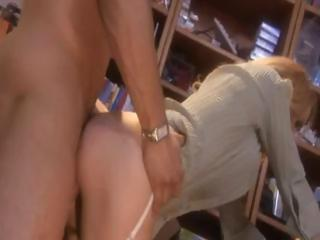 Hot blonde secretary gets fucked on her messy desk by the boss