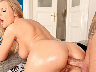 Colette acquires a booty rub down and takes a hard anal pounding