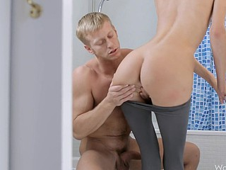 Blond loves to fuck her guy everywhere the baths