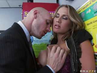 There's no messing around here, it's all about chemistry. Alanah and Johnny are getting it on, but first a little foreplay. He smothers himself in those huge tits, then pulls her shirt open to take up with the tongue and suck on them. She returns the favor by going down and slurping his cock.
