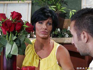 Shay Fox welcomes her daughter's boyfriend of 2 years inside. He's brought her flowers, balk she's not home. Shay offers him slits and tea in the long run b for a long time he waits, balk she's still not there. Flexuosities out that pamper was cheating. He's most assuredly upset, balk intermittently Shay whips out those massive tits.