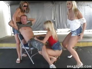 Isn't this guy lucky or what? These 3 lustful blonde babes are sucking his knob and he gladly bonks their throats and rubs these vaginas. Look at these hot blondes with lengthy legs, cute titties, hot booties and pink constricted vaginas. He bonks 'em one at a time with his big knob but is he going to fill all these babes with his hot jizz?