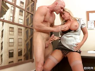 hot blonde milf with her huge big milk shakes