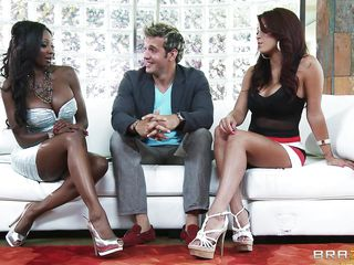 The black milf with big tits offers the chap to marry both of them. But the chap says this guy has to select only one from both, so both the hot milfs firstly denies to competing every other for the guy, but later in the day one of 'em gets naked and gives him a company and seduces him with her big breasts. The black mature milf arrives and fights her and takes her out of the room, then takes off the panties of the latin chap and enjoys the rest of the night.