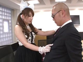 Asian bitch Yui goes a bit crazy when this babe sees a man in the air suit. So, away of hesitation this slutty cutie kneels in the air front of the guy, takes away his hard cock, licks his abdomen and gives his dick a sexually discomfited suck. Look at say no to go! really such a sexually discomfited milf deserves a fat load of jizz on say no to face