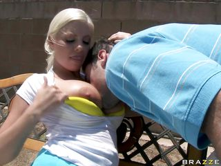 blond whore with large tits drilled on the tennis field