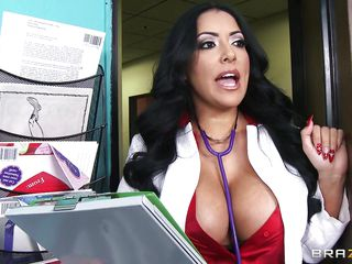 She's not only a beautiful milf with biggest boobs and a delicious ass, the Hispanic sex bombshell is a doc too and this time she decides to give this stud a very special treatment! Kiara kisses him and then offers her huge, superb boobs for some licking. She then bends for a hot rimjob and decide to suck the stud