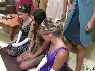 Cute college beauties are getting tutored and humiliated. Those sluts are cutting those sweethearts clothes, revealing their hot bodies, humiliating 'em and then making 'em lick this hot brunette pussy. They are getting a hard lesson and maybe and liking it. Are those beauties going to receive some 10-Pounder too?