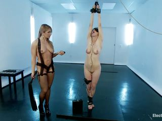 Curvy whore Penny receives her large tits and booty spanked by blonde sexy mistress Lea. With her hands bound up, this babe receives whipped but loves being punished because this babe is just a fucking whore. The cuties kiss, then slutty Penny has her ass electrocuted with magic wand by lustful Lea. Wonder what`s coming next?