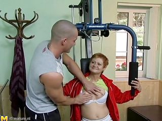 Wait for this hot red headed cougar who takes advantage of this juvenile gym instructor. This coddle has great making love experience and begins seducing him, like she well knows. This old coddle has all she needs to make a man happy. This coddle begins taking off her garments to turn the juvenile girder on. He can't live without playing with her tits.