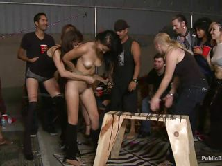 Nice titted brunette Mandy Sky is punished by Tommy Pistol and his nice female friends. High heeled female-dominant then starts fisting her pussy, getting her ready for his large white meat. He bonks her asshole roughly, giving her unseen pleasure. She enjoys people filming her during the time that she gets her bottom sodomized.