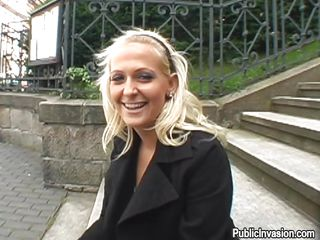 Slutty golden-haired Nikol sits on some public stairs and speaks with a turned on chap who craves to film her while she`s sucking his cock. The bitch agrees and spread her legs for him. Then, they go together in a parking lot and the whore sits on her knees. She gives him a steady oral-stimulation with much pleasure!