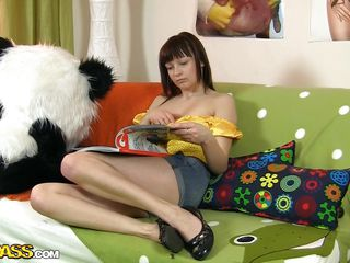 Patricia is bored and wants something fun to do. As you see Panda is not active and she has to satisfy herself all alone. So, out of wasting time the little whore grabs that big black vibrator panda used to fuck pussy's and gives it a lick in advance of masturbating with it. Who said girls can't do it themselves?