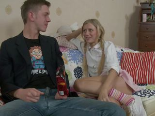 blond teen enjoyed the cum-hole licking session