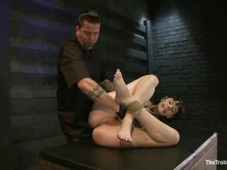 Coral is tied hard and her executor has some smth special for her, his hand deep in that shaved lubed vagina. She is fucked deep without having the chance to disobey and the guy is not going to let her get away easily because it will be a shame not to take advantage of such a piece of ass.