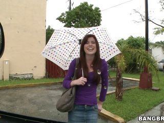 Cute redhead with an umbrella, is being picked up in the Bang Bus. In which poses will this babe fucked and with how many guys? Will her pretty face be overspread in semen or this babe will have cum on other parts of her body.