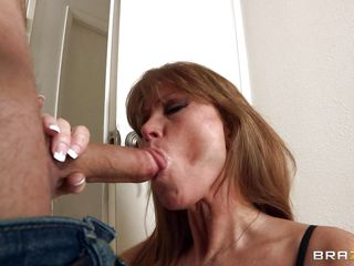 Sexy and sexy milf Darla Krane is in serious need of a cock. And so this babe decided to tempt one in her stockings. And watching this sexy busty lady in her under garments, James Deen could nor help himself! This guy accepted the blowjob and face hole fucked this hot mature. Soon they got in to the bed and the milf flashes her nice bouncy big boobs!