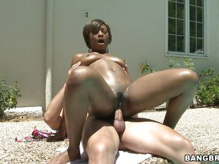 Horny chocolate honey Imani Rose is getting drilled by the side of a swimming area. Those brownie babe is riding the cock like a crazy cowgirl screaming and groaning at outdoor with the sensual pleasure that babe is getting form this hot interracial fuck.