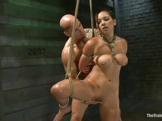 Such a hotty needs a hard fuck and some humiliation and that is exactly what the shaved man gives helped by his buddy. That guy bonks her pussy from behind and then grabs her mouth so she would pay attention on what this guy says. Seeing her dominated really makes you thinking if she will behave from now on.