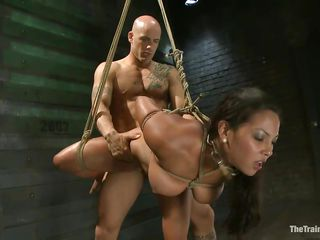 adriana is tied and drilled by a bald muscled stud