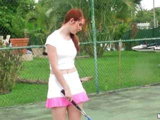 nasty redhead tennis player sucking a big cock