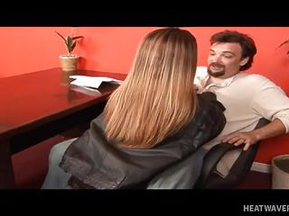 Burke was thrilled to be interviewed for a job and was even more excited when the HR officer was also a petite person! She is obviously attracted to him at first sight and is not shy to show it to him with a blowjob! To secure the job he wanted, Burke even went on his way to take up with the tongue her diminutive pussy!