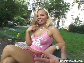 This hot blond is getting paid to show her small valuable tits in a park and then receives more money to show her vagina too. After a little talk he puts his finger in her throat and then his cock. Look at her as she receives down on her knees like a good angel and starts sucking his hard penis with pleasure, will he cum on her pretty face?