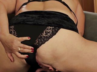 golden-haired grandma beside dark panties gives herself some love!