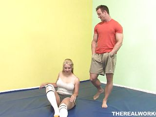 A rough sport like karate needs to be practiced rigorously but the beautiful blonde Sarah had enough with it. She wants to train at what she knows best, making a knob hard. The babe undresses and leaves the kimono on the floor to make her coach horny and taunts him with her black belt blowjob skills