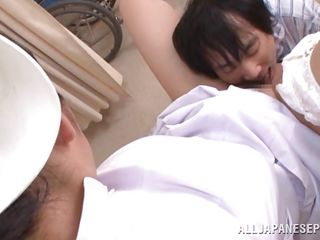 With a very curly fur pie between her thighs, nurse Akari is making this guy and us horny. She widens these glamorous legs and moans whilst the man fingers her pussy and gives it a few mean licks. He licks her breasts also and it appears to be that the cute nurse is willing for a deep hard fuck, want to see some more?