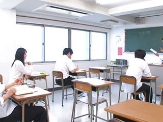 Asian schoolgirl doesn't pays attention to her teacher cuz she's busy reading notes from her colleague. Many of us don't know Japanese but it's pretty clear that it's about her twat and if this babe dares to rub it in the middle of the class. The doxy does it shameless, what if this babe will acquire caught and punished?