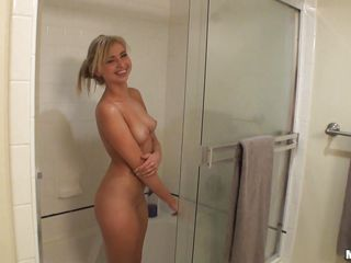 sexy blonde in rub-down the shower