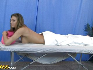 Horny Russian babe is lying on the spa table and having her sexy body massaged by the masseur! And the nasty guy couldn't assist to take a peek and squeeze that nice a-hole of hers. since this babe does not resi5t, guy fingers her pussy and starts playing with her tits. Let's watch how far this massage goes!