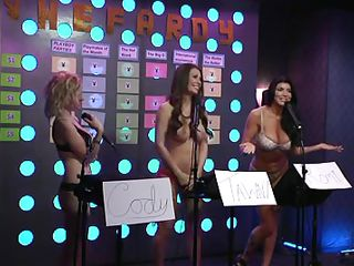 Sexy bitches are playing a fun game and entertain the male guest a lot. They are either topless or wearing sexy lingerie. They realize that having your tits out helps your intelligence, 'coz the floozy who doesn`t wear a bra gives the most correct answers! Want to watch her massive marangos jiggling when that babe laughs?