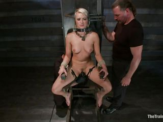 Anikka is in large trouble, positioned in that bondage device that doesn't allows her to move her executor rubs her hairless vagina with a sextoy until they have enough with her. Her body is fit, nice tits, a pretty face with pink lips and a bubble butt that merits a not many slaps on it, and that's exactly what it acquires