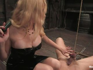 golden-haired milf with hot body torturing and sucking a cock