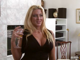 In party the breasty blonde sets her target which she wants to fuck. Asks the guy to help her in the kitchen, her husband is the boss of that guy. That babe tells him to fuck her but he says the boss will kill him. That babe unties his shirts button slowly and tell him that his boss will never know. He kissed her then she pulls of her panties and takes his nice cock deep in her mouth.