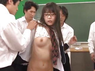 Here we have a pretty nerdy asian chick. She's a bookworm and the guys in her class had enough with her. How can they let such a hawt body not get screwed and further more, this babe needs it! All that studying made the honey need a hard fuck and this babe receives it from 'em as lengthy as some cum in her constricted asian pussy.