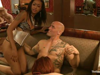Skin Diamond, the dark brown californian girl is ready to share man meat with her gorgeous sex slave friends. The busty milf Ariel X, red haired Odile and pleasant blond Dylan Ryan stand in line on their knees craving for that white cock, licking every other's pussies. The stud repays Skin by fucking her rough.