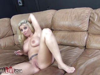 blonde babe masturbating on an obstacle couch vanguard sucking a cock