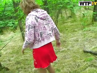 As I was walking in the forest with this blonde cutie I saw her red clothing and thought about that fairy tail with the red ridding hood. Well, I wanted to be the big bad wolf in this forest so I gave her my cock for sucking. She kneed and sucked my dick happily in advance of I fucked her pussy and kept on filming.