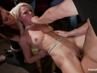 Anikka is hot and blonde, she has a couple of sexy titties, a nice booty and a face hole that begs for 10-Pounder and semen. Watch her all fastened up and getting drilled hard by the lads in that pub. She's being disgraced and likes it, this pretty doxy deserves a good old deep fuck and screams both with pleasure and pain as they fuck her