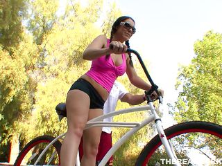 After ridding that bike and rubbing her muff on the seat all day long milf Beverly needs some other kind of exercise. That babe meets this guy outside and goes inside the house with him, leaving her bike for a cock. Take a look at her worked out butt and that shaved muff that's being awaiting all day for a hard cock