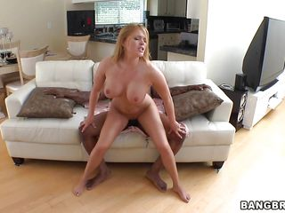 Krissy Lane, one breasty sex bomb is having a hardcore couch fun with a black monster. The large black cock is permeating her inside out like a pile diver. As the cock fills her wet constricted pussy, she seems so happy! Her large boobs and breasty ass was bouncing with joy as she receives fucked hard. This blonde is really something!