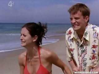 Carnal Dark brown Courteney Cox Shows Her Rack In a Hot Red Bikini